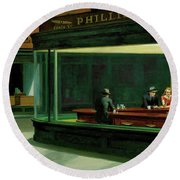 Nighthawks Round Beach Towel by Edward Hopper