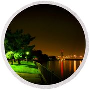 Nighttime Promenade Round Beach Towel