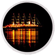 Nightlife On The Water Round Beach Towel