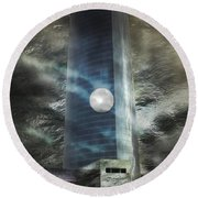 Round Beach Towel featuring the digital art Nightmare Tower by Rosa Cobos