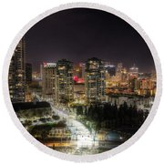Round Beach Towel featuring the photograph Nighttime by Heidi Smith