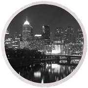 Round Beach Towel featuring the photograph Nighttime In Philadelphia by Alice Gipson