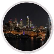Nighttime Philly From The Ben Franklin Round Beach Towel