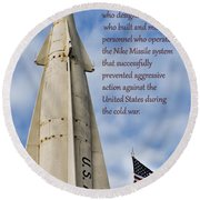 Nike Missile Thanks Round Beach Towel by Gary Slawsky