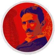 Nikola Tesla #1 Round Beach Towel