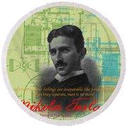 Nikola Tesla #3 Round Beach Towel
