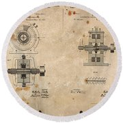 Nikola Tesla's Alternating Current Generator Patent 1891 Round Beach Towel
