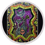 Nine Lives     Round Beach Towel