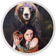 Nine Stars Woman - Bear Medicine Round Beach Towel