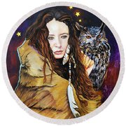 Nine Stars Woman / Owl Medicine Round Beach Towel