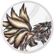 Nine Tails Wolf Demon Round Beach Towel