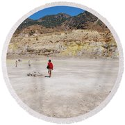 Nisyros Volcano Greece Round Beach Towel