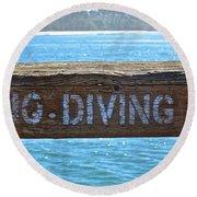 No Diving Round Beach Towel