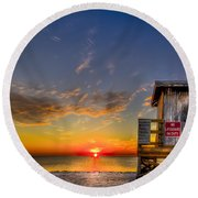No Life Guard On Duty Round Beach Towel by Marvin Spates