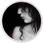 Round Beach Towel featuring the painting No Looking Back by Pat Erickson