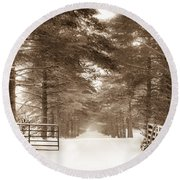 No Trespassing - Sepia Round Beach Towel