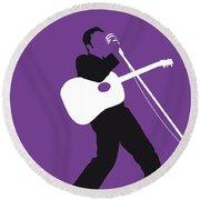No021 My Elvis Minimal Music Poster Round Beach Towel