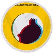 No096 My Tintin-3d Minimal Movie Poster Round Beach Towel by Chungkong Art