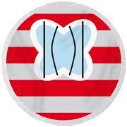 No098 My Papillon Minimal Movie Poster Round Beach Towel
