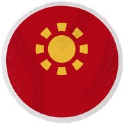 No113 My Iron Man Minimal Movie Poster Round Beach Towel