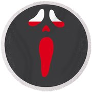 No121 My Scream Minimal Movie Poster Round Beach Towel