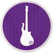 No124 My Purple Rain Minimal Movie Poster Round Beach Towel