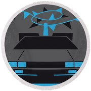 No183 My Back To The Future Minimal Movie Poster-part II Round Beach Towel