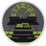 No183 My Back To The Future Minimal Movie Poster-part IIi Round Beach Towel