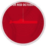 No198 My The Hunt For Red October Minimal Movie Poster Round Beach Towel by Chungkong Art