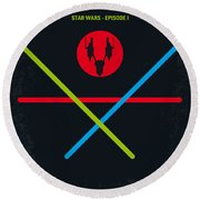 No223 My Star Wars Episode I The Phantom Menace Minimal Movie Poster Round Beach Towel