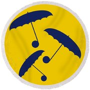 No254 My Singin In The Rain Minimal Movie Poster Round Beach Towel