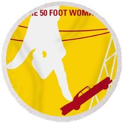 No276 My Attack Of The 50 Foot Woman Minimal Movie Poster Round Beach Towel