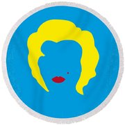 No284 My Week With Marilyn Minimal Movie Poster Round Beach Towel by Chungkong Art