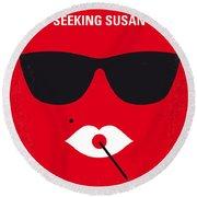 No336 My Desperately Seeking Susan Minimal Movie Poster Round Beach Towel