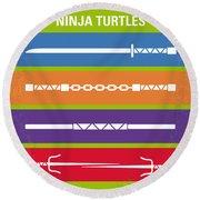 No346 My Teenage Mutant Ninja Turtles Minimal Movie Poster Round Beach Towel