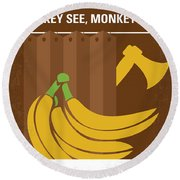 No356 My Serial Ape-ist Minimal Movie Poster Round Beach Towel