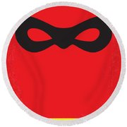 No368 My Incredibles Minimal Movie Poster Round Beach Towel
