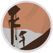 No428 My Hamburger Hill Minimal Movie Poster Round Beach Towel