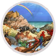 Noah And The Ark Round Beach Towel