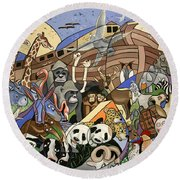Round Beach Towel featuring the painting Noahs Ark by Anthony Falbo