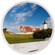 Nobska Point Lighthouse Round Beach Towel