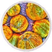 Noisy Lemon Cucumbers Round Beach Towel