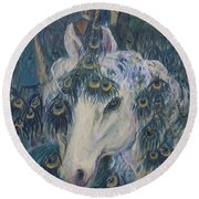 Round Beach Towel featuring the painting Nola's Unicorn by Avonelle Kelsey