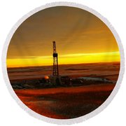 Nomac Drilling Keene North Dakota Round Beach Towel