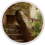 Noon Rest On The Stairs. Eze. France Round Beach Towel