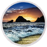 Norcal Sunset On Jenner Beach Round Beach Towel