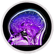 Normal Sagital Mri, Brain Round Beach Towel