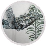 Round Beach Towel featuring the drawing Norman Blue by Mayhem Mediums
