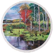 Norman Lake  Round Beach Towel
