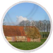 Normandy Storm Damaged Barn Round Beach Towel